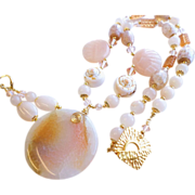Peach Agate and Serpentine Dyed Gemstone Necklace and Earrings Set