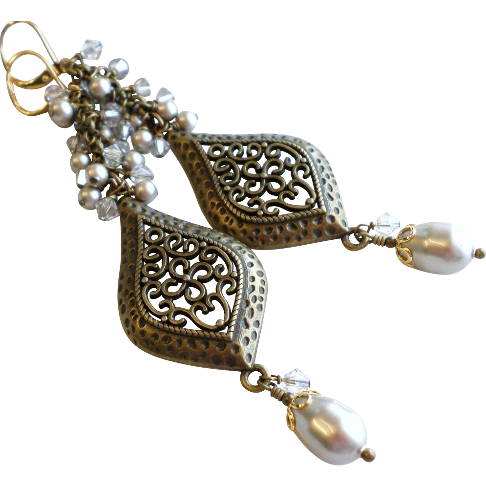 Aged Brass Chandelier Earrings With Swarovski Faux Crystal Pearl Clusters
