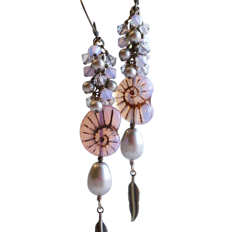 Czech Glass Beach Themed Long Dangle Earrings