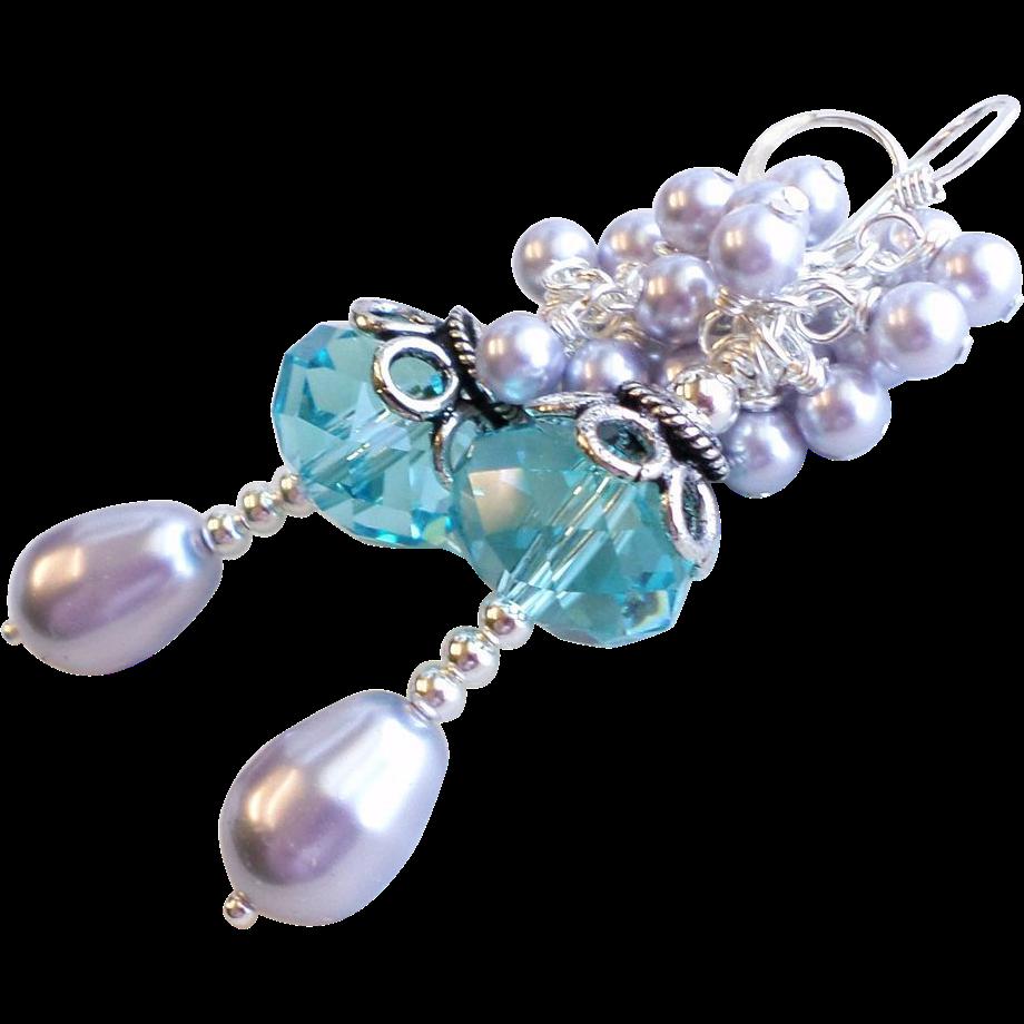 Swarovski Crystal Petite Length Cluster Earrings