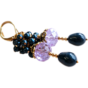 Dark Blue and Violet Swarovski Faux Pearl Cluster Earrings