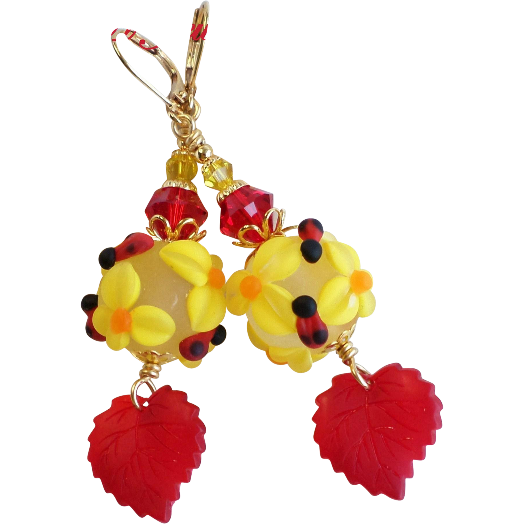 Lampwork Glass Garden Floral Dangle Earrings