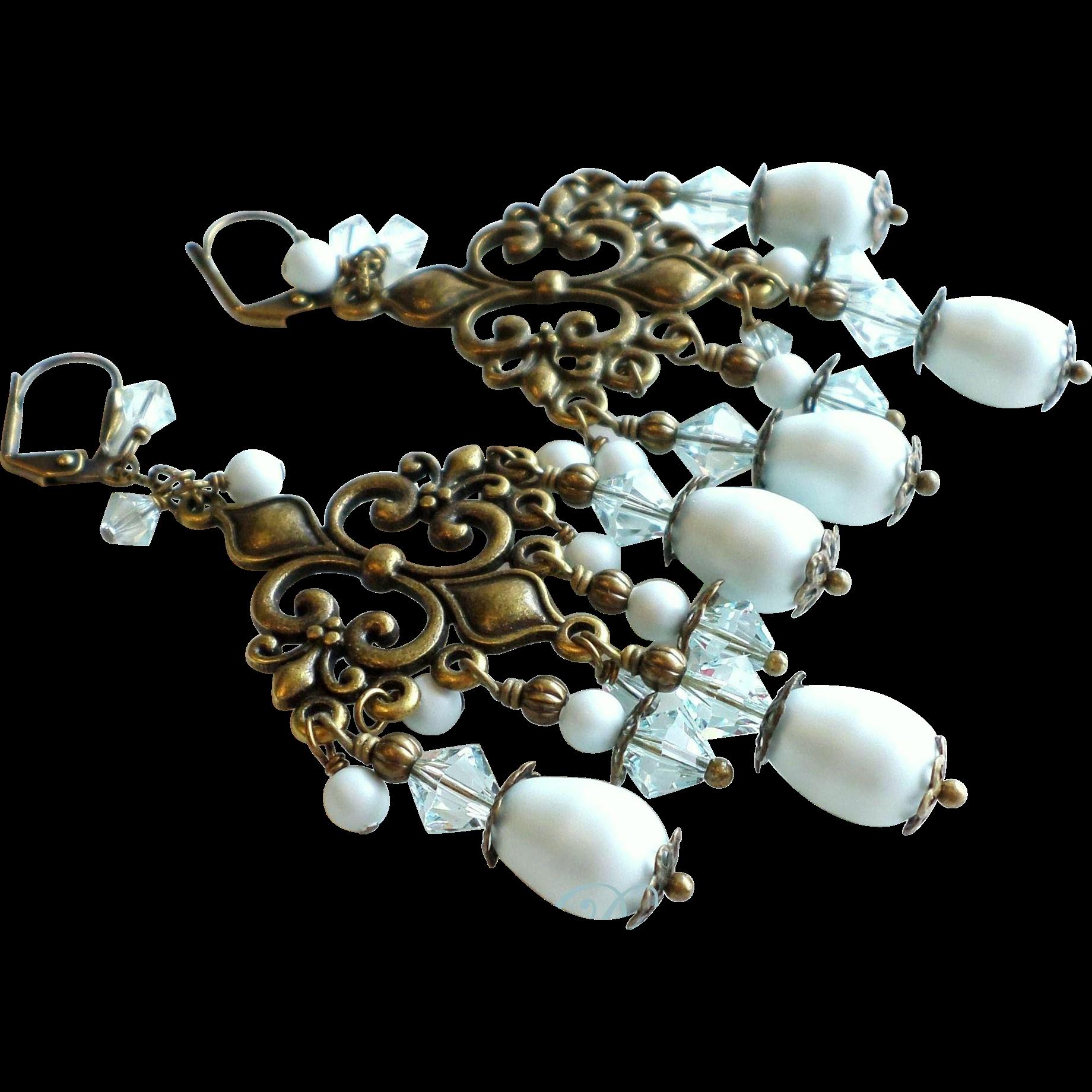 Pastel Blue Swarovski Faux Pearl Brass Chandelier Earrings