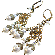 White Swarovski Faux Pearl Brass Chandelier Earrings