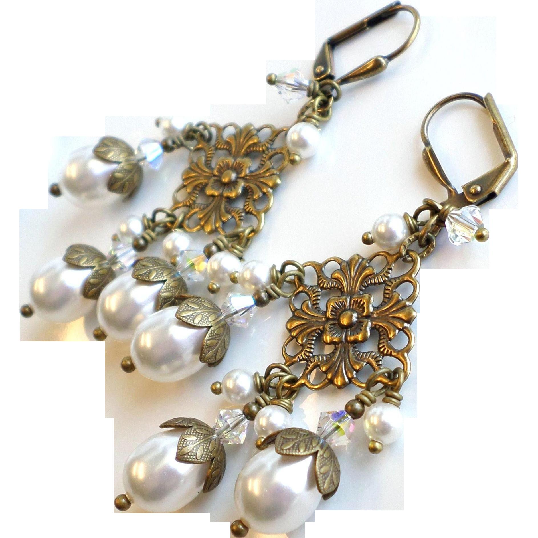 White Swarovski Faux Pearl Brass Chandelier Earrings