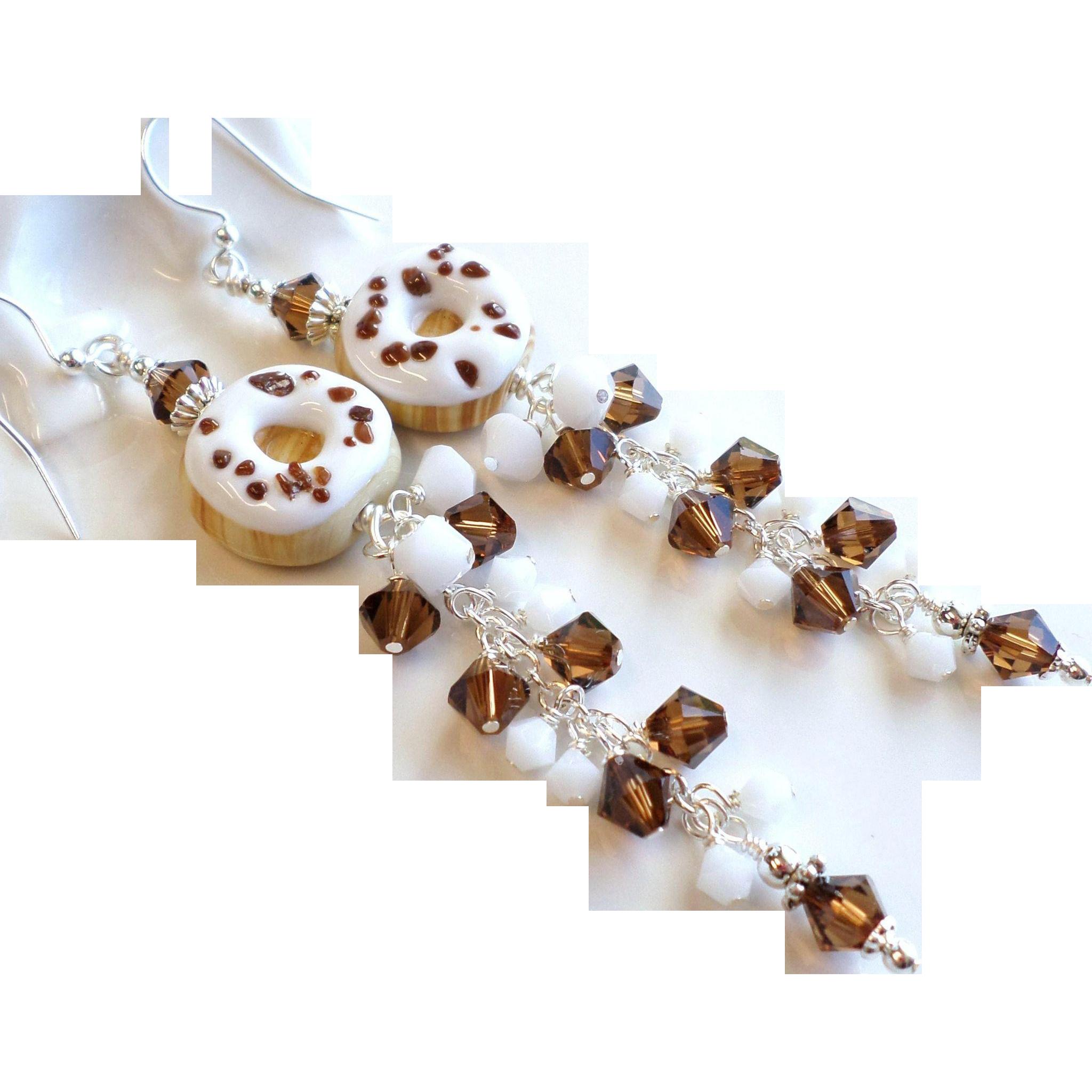 Donut Themed Long Lampwork Glass Swarovski Crystal Earrings