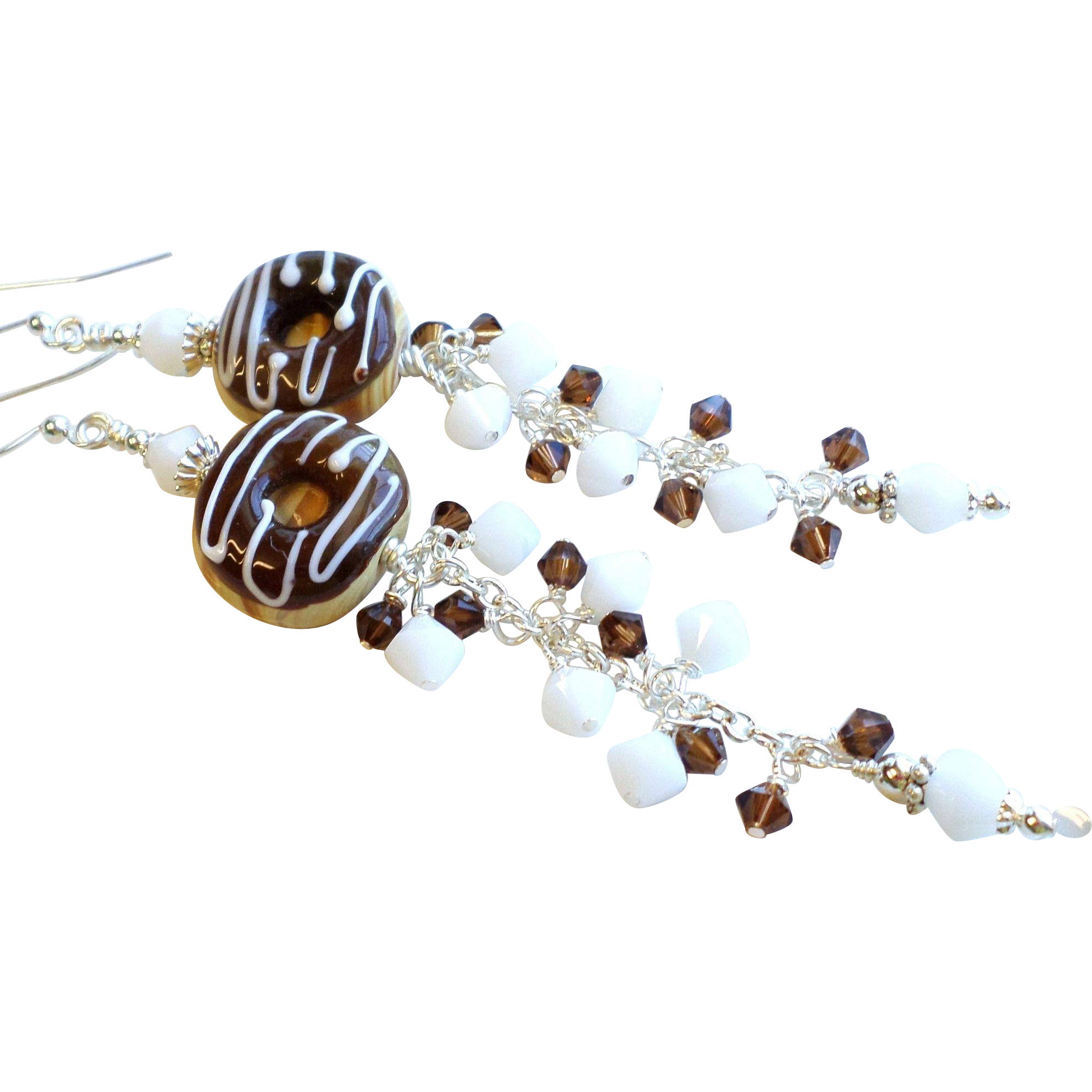 Chocolate Donut Lampwork Glass Swarovski Crystal Long Dangle Earrings