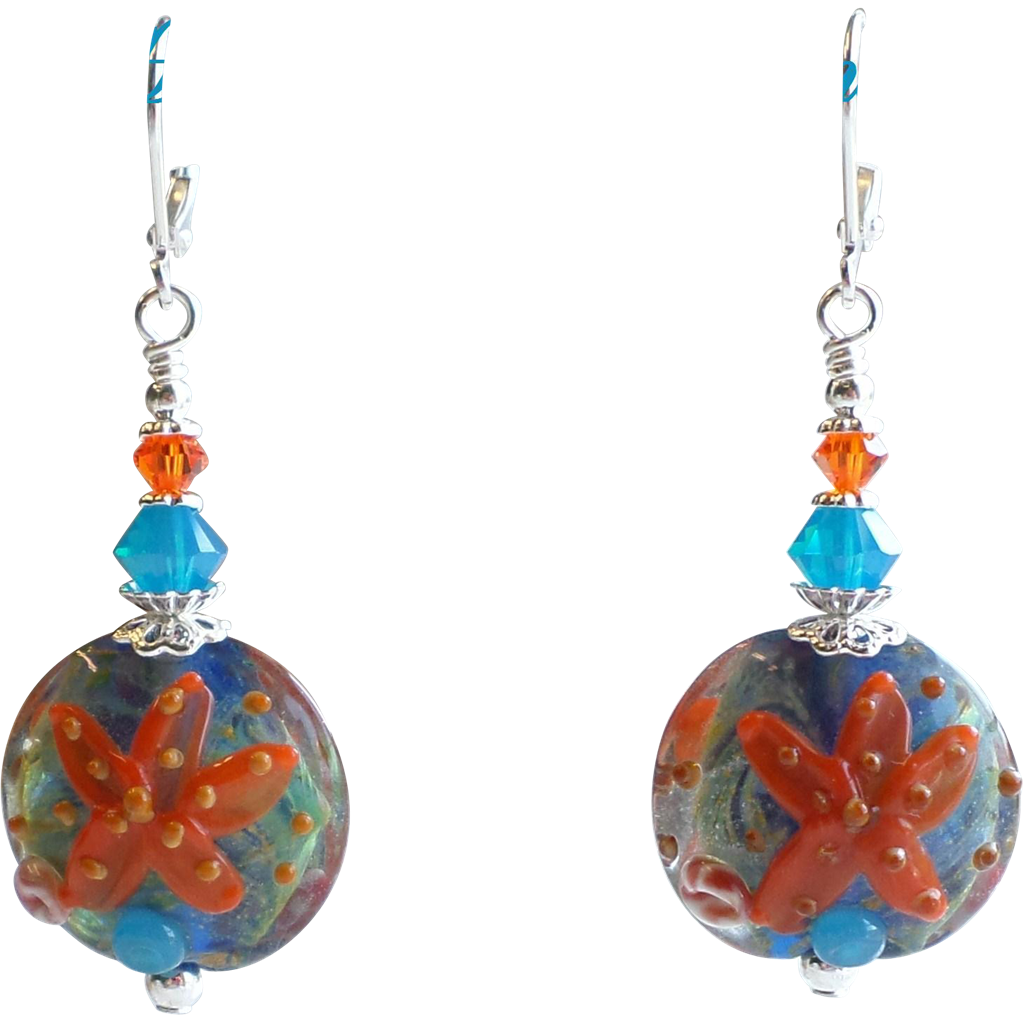 Starfish Themed Lampwork and Swarovski Crystal Earrings