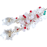 White, Red and Green Holiday Themed Swarovski Crystal Long Earrings
