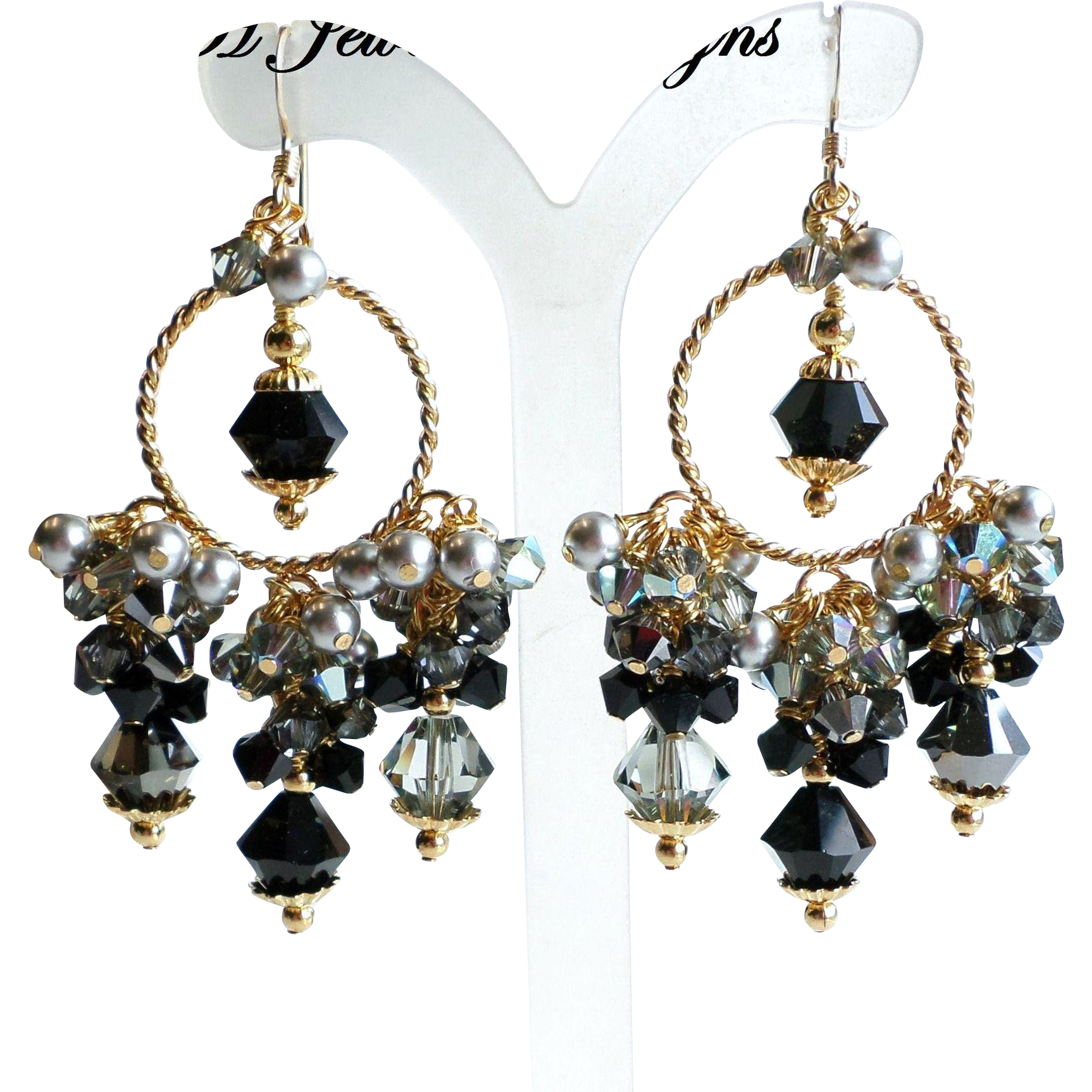 Black, Gray and Silver Swarovski Crystal and Faux Pearl Chandelier Earrings