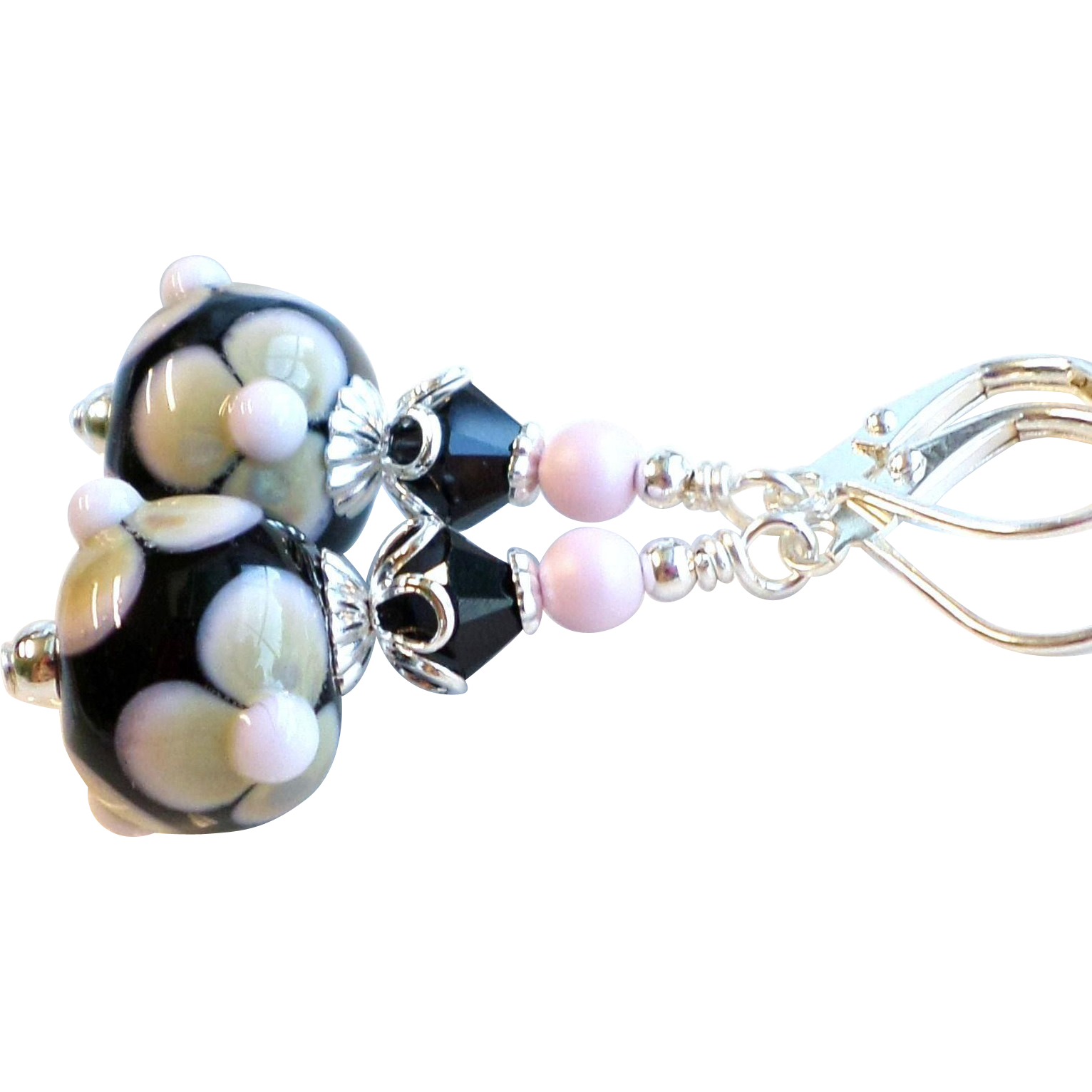 Pink, Black and Beige Lampwork Earrings