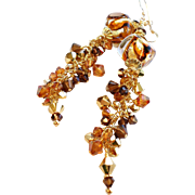 Venetian Glass 24KT Gold Foil Earrings With Swarovski Crystal Accents