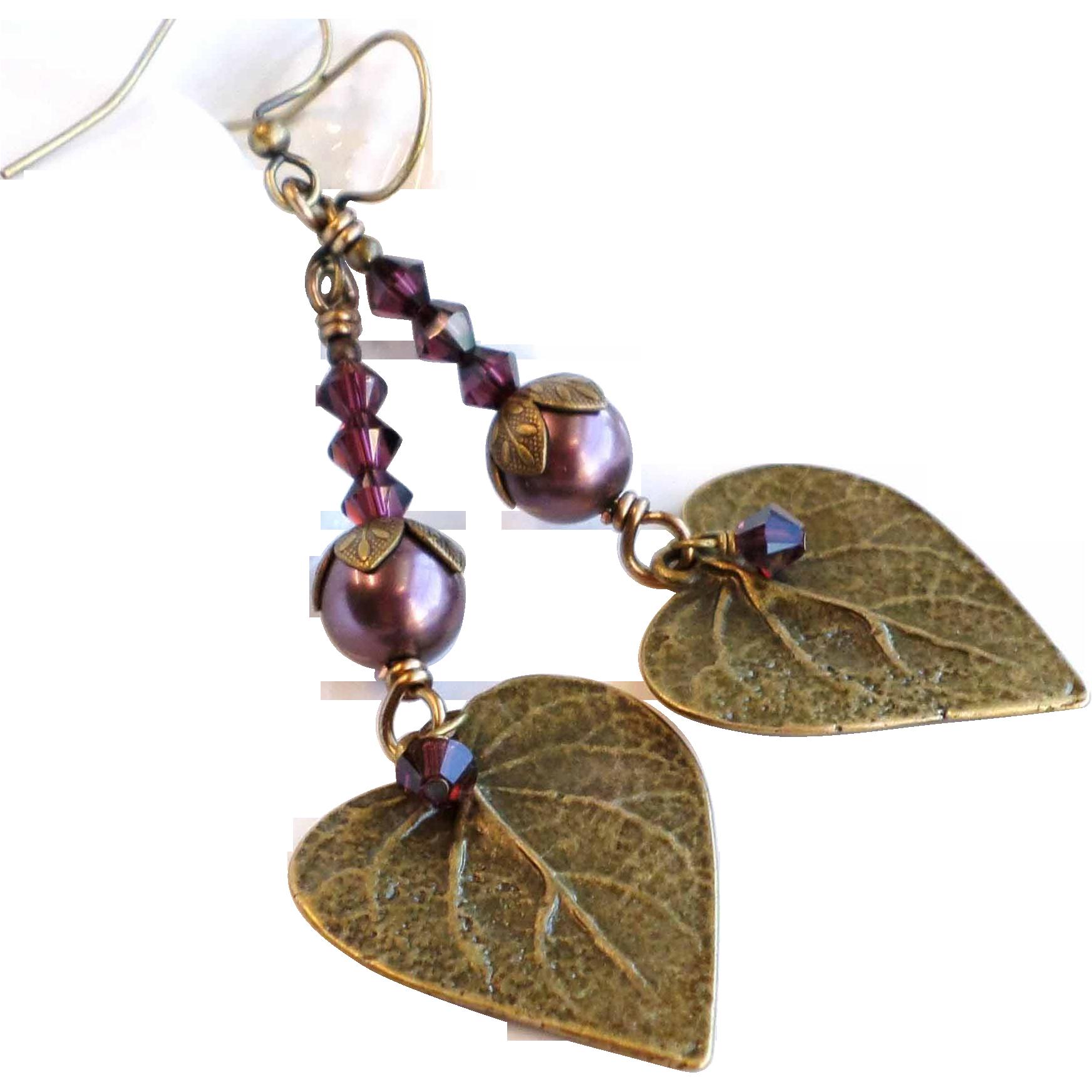 Burgundy Swarovski Crystal and Faux Pearl Leaf Motif Dangle Earrings