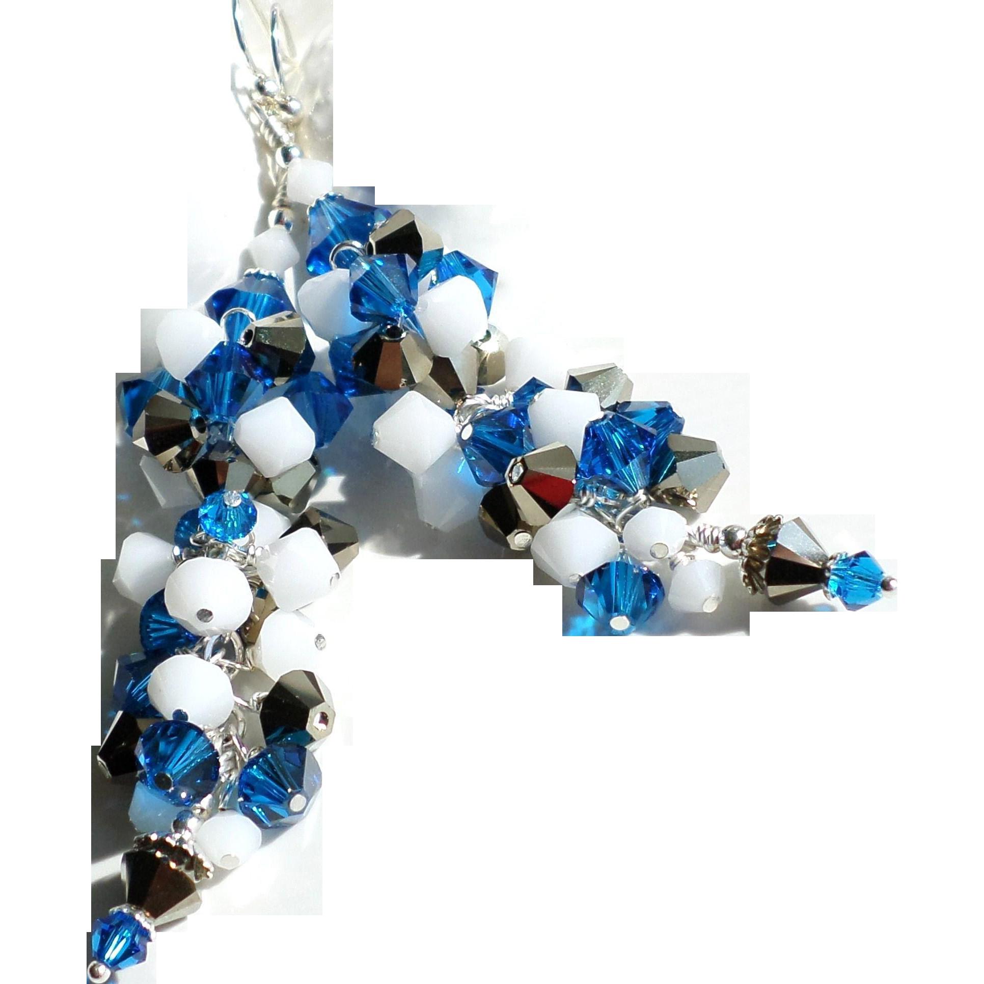 Swarovski Crystal Cluster Bead Long Earrings In Capri Blue, Bronze and White Shades