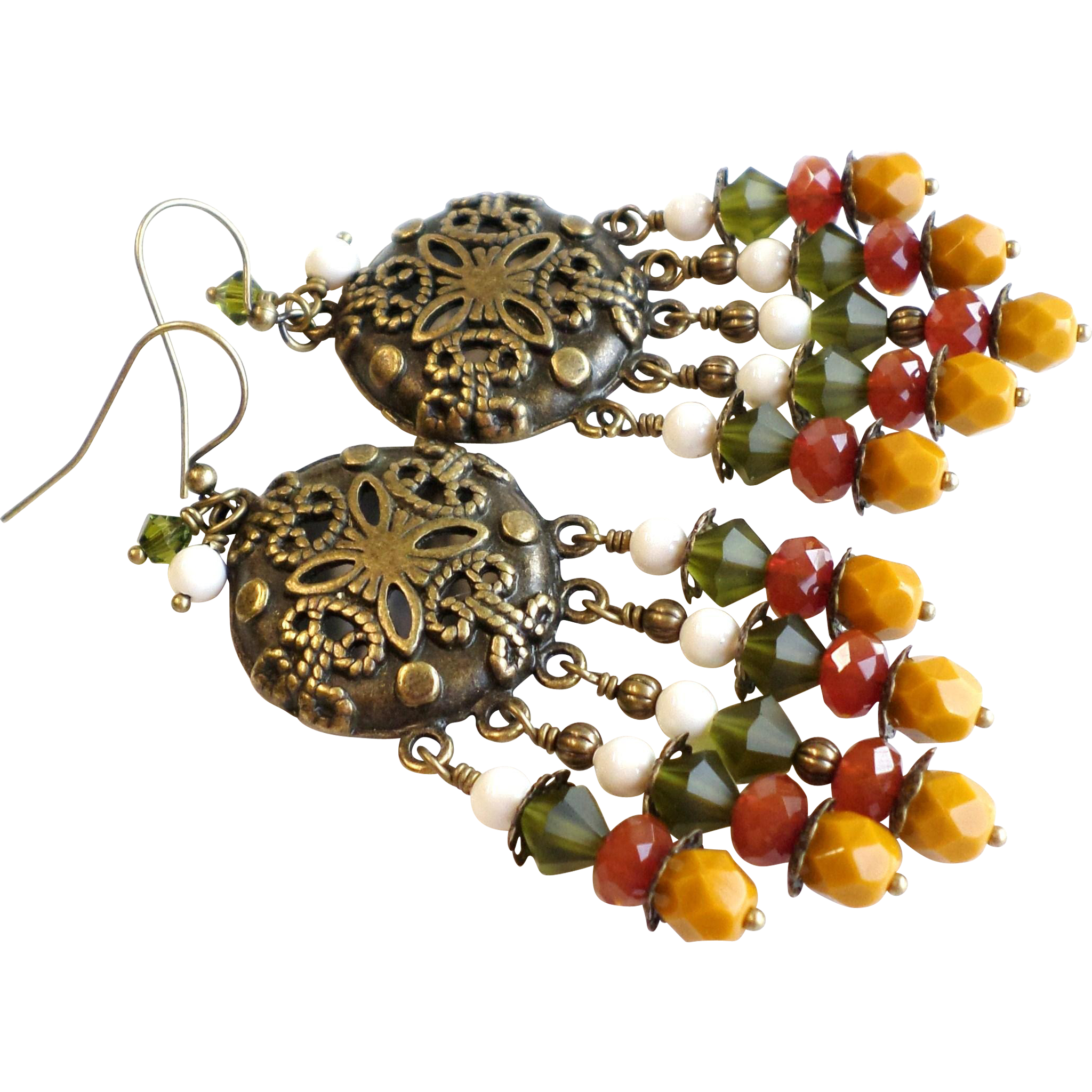 Fall Colors Brass Chandelier Earrings With Czech Glass and More