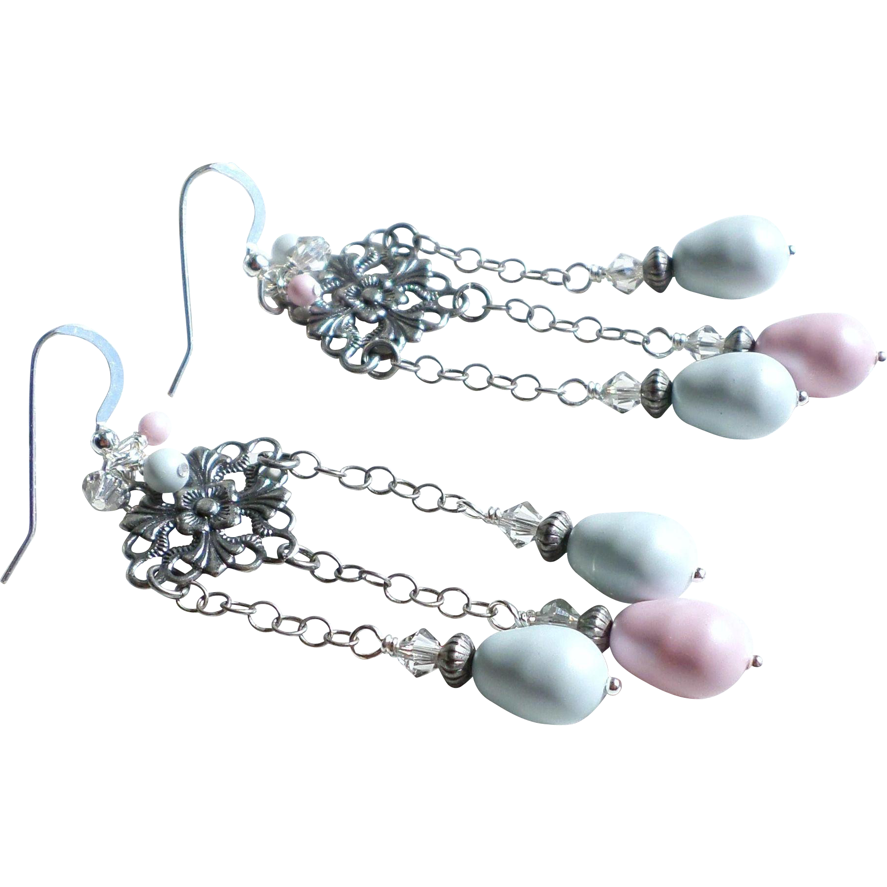 Swarovski Faux Pearl Pastel Chandelier Earrings With Aged Silver Finished Brass Elements