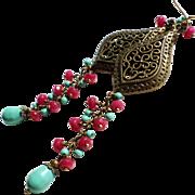 Aged Brass Long Chandelier Earrings With Jade Colored Swarovski Faux Pearls