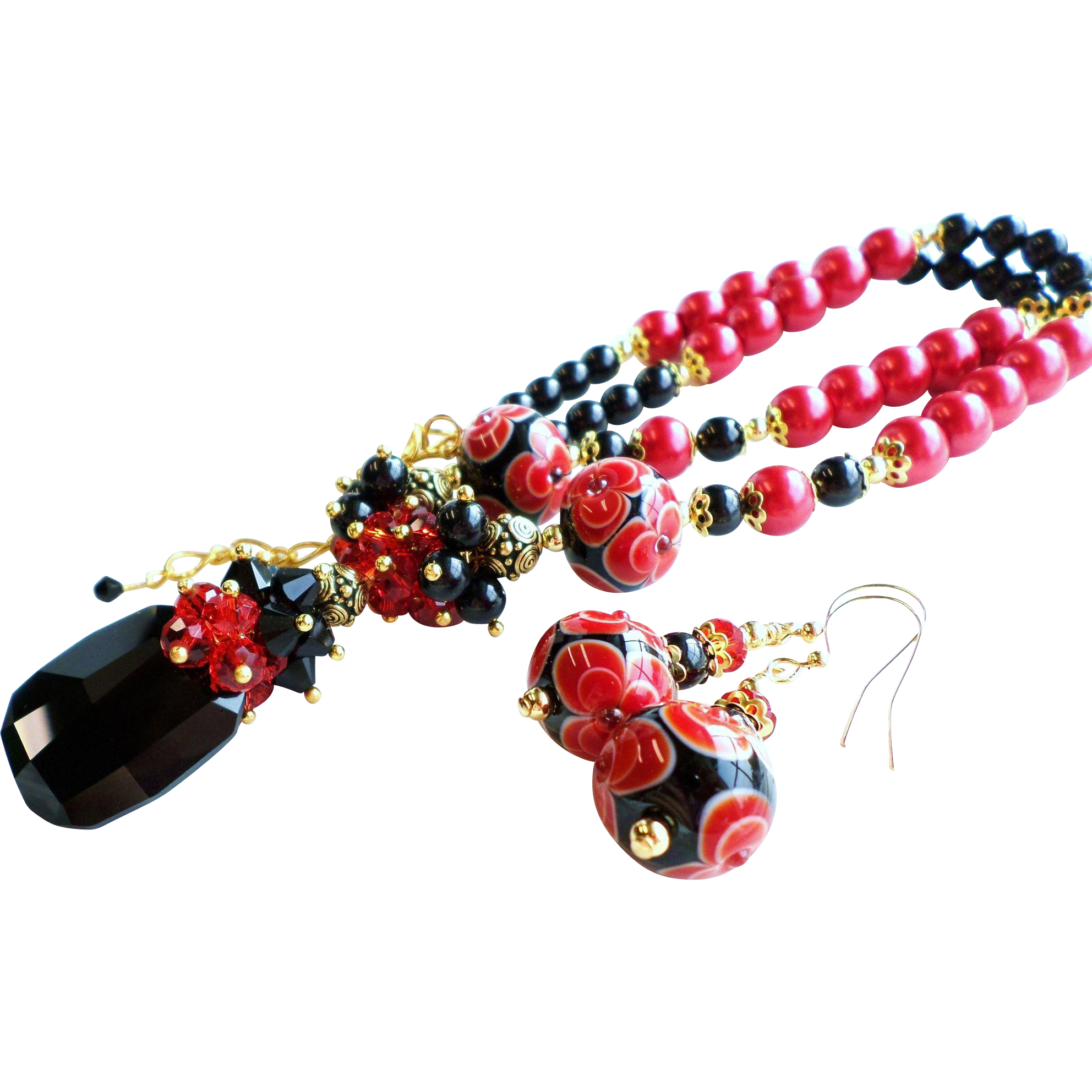 Red and Black Lampwork Glass and Swarovski Crystal Necklace and Earrings Set