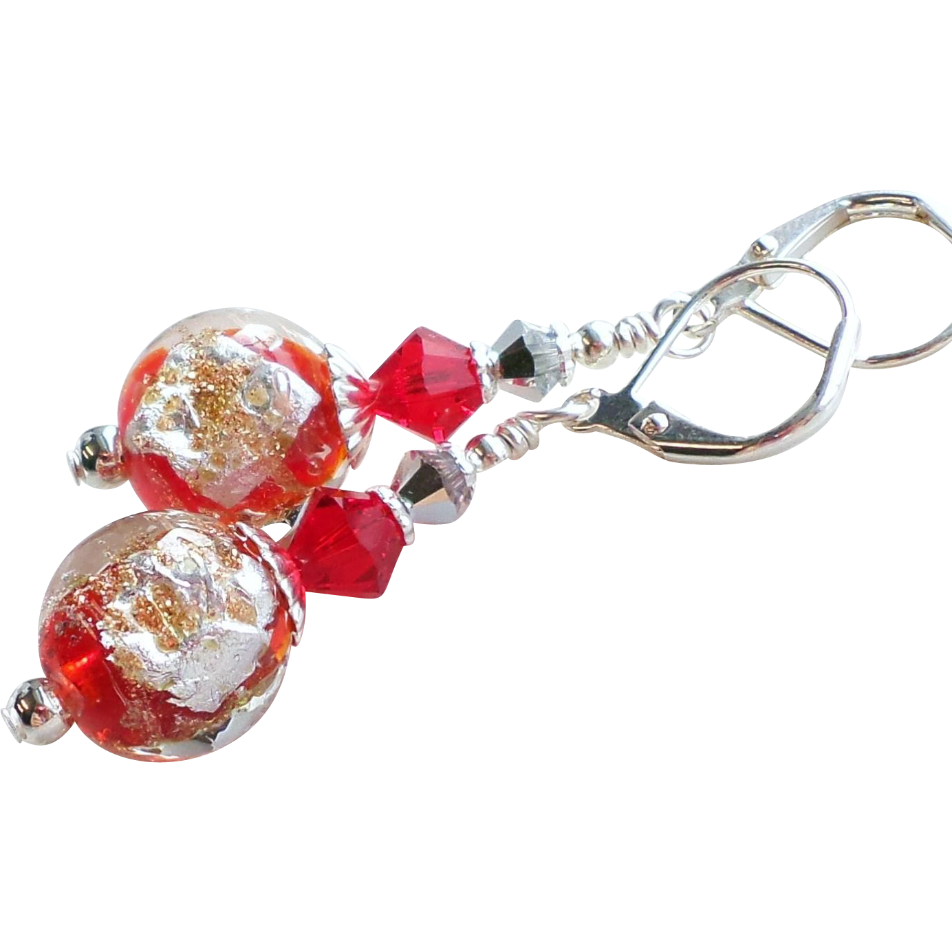 Red, Silver and Gold Foil Lampwork Glass Swarovski Crystal Earrings