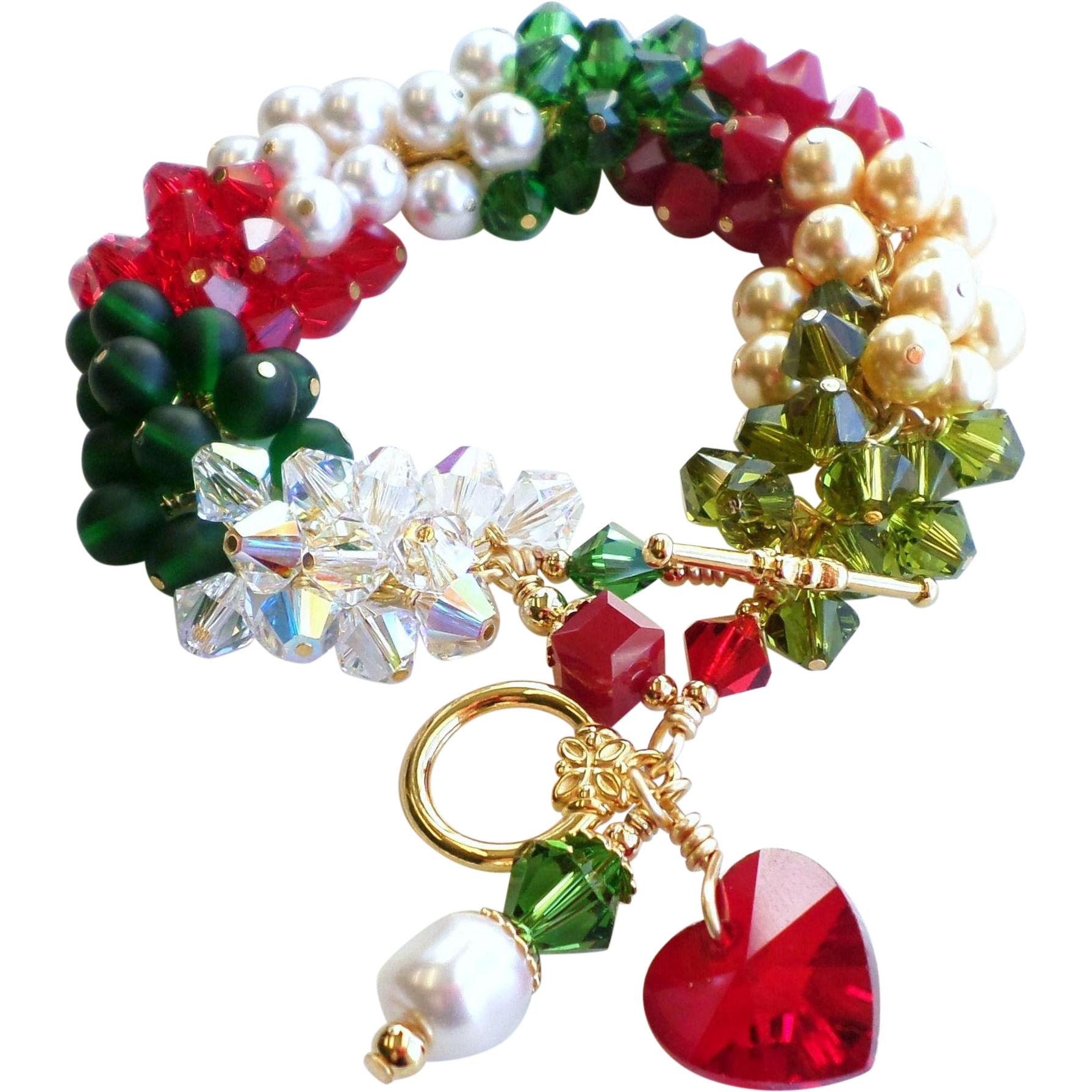 Red and Green Holiday Themed Christmas Swarovski Crystal and Faux Pearl Charm Cluster Bracelet