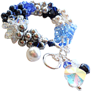 Icy Blue and White Holiday Winter Themed Charm Cluster Bracelet With Swarovski Crystals and Faux Pearls