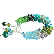 Beach Themed Blue and Green Shades Swarovski Crystals Charm Bracelet
