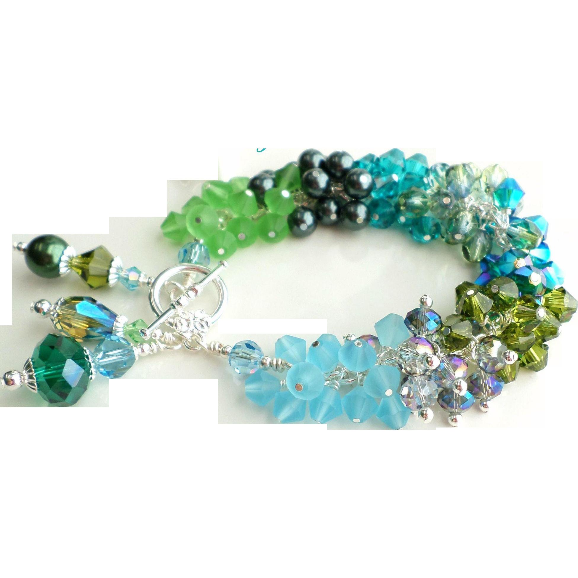 Beach Themed Blue and Green Shades Swarovski Crystals Charm Bracelet