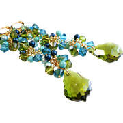 Green and Blue Long Swarovski Crystal Cluster Earrings