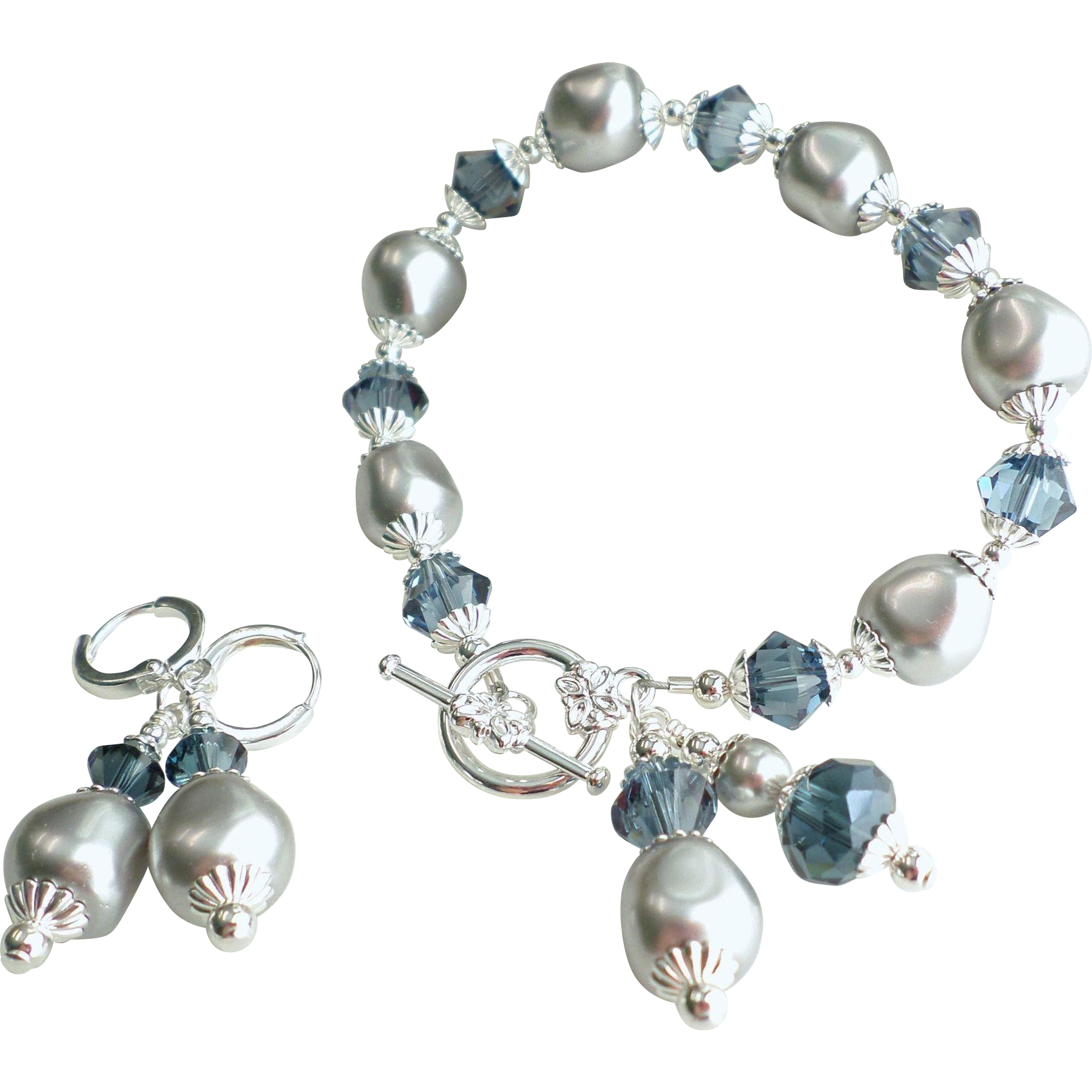 Swarovski Faux Pearl and Crystal Bracelet and Earrings Set in Silver Gray and Montana Blue