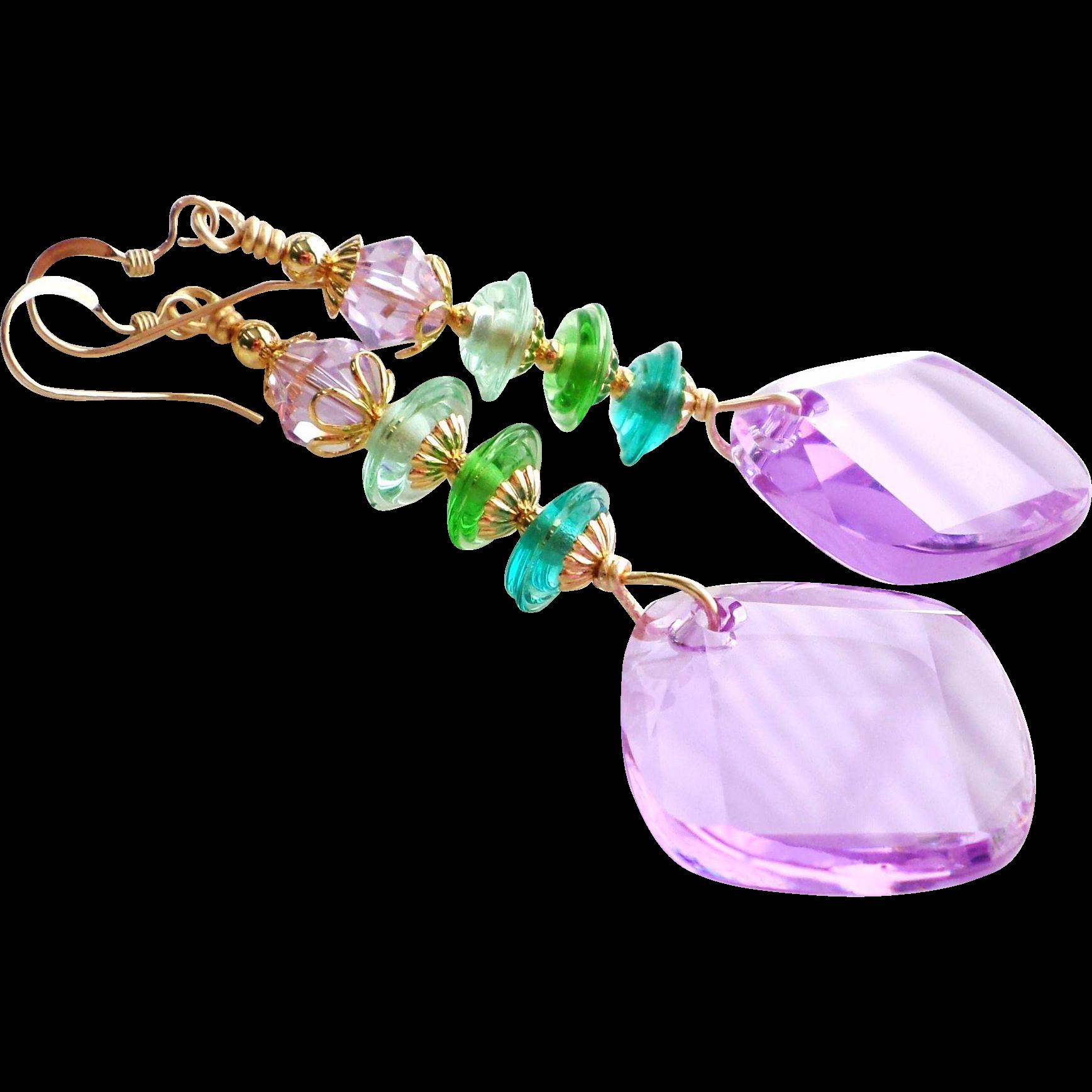 Swarovski Crystal and Lampwork Glass Colorful Long Earrings