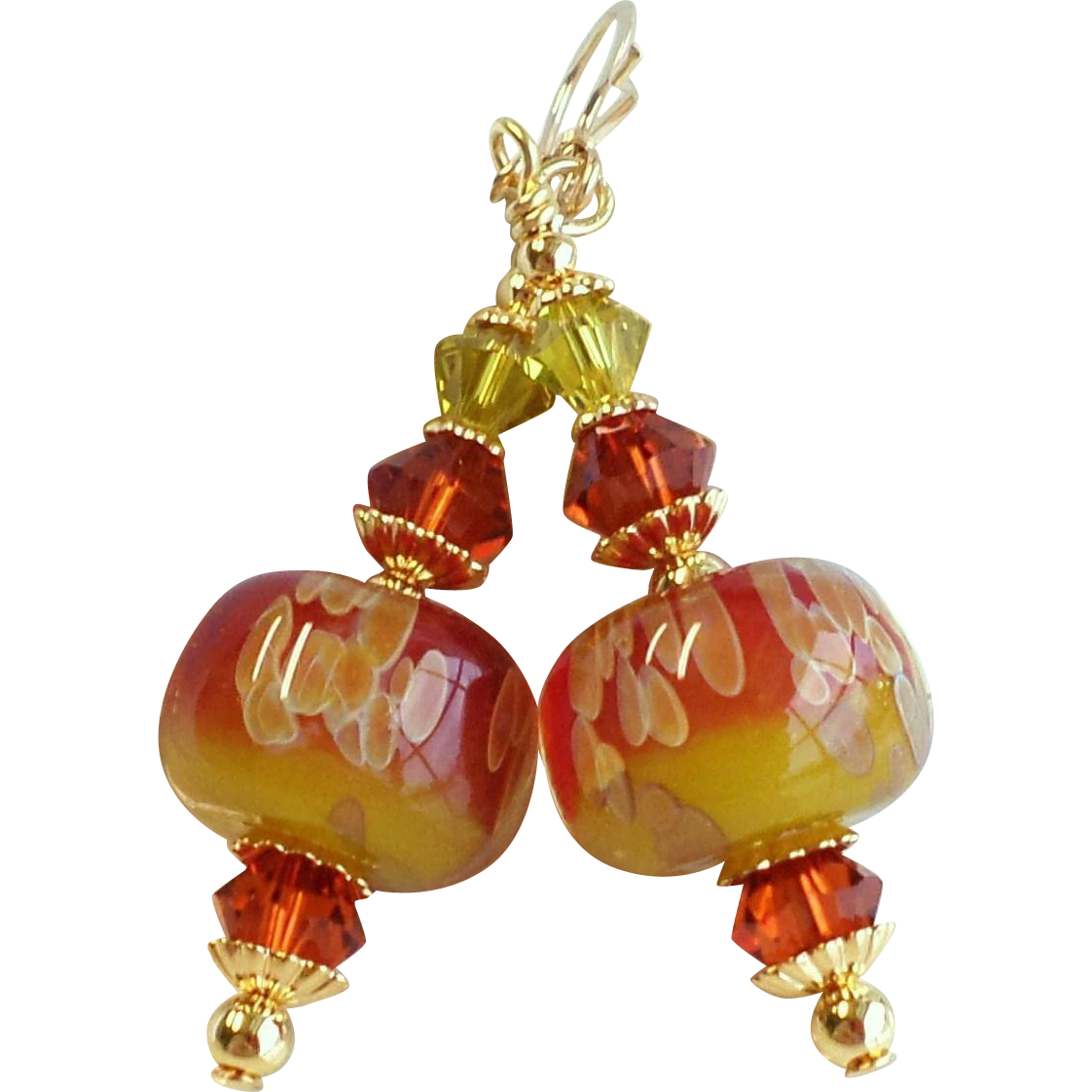 Boro Glass Earrings In Reddish Orange and Lime Green Shades