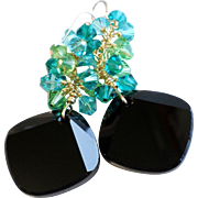 Swarovski Crystal Metro Cut Statement Earrings In Black, Teal and Peridot Green Shades