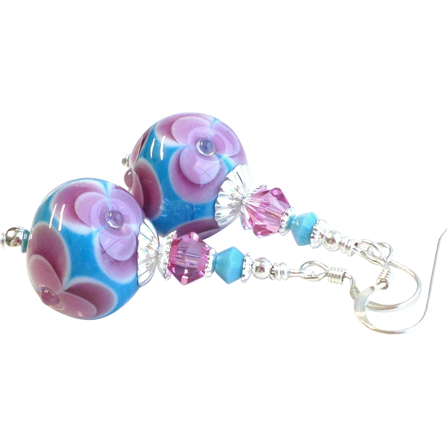 Pink and Turquoise Blue Floral Lampwork Swarovski Crystal Earrings