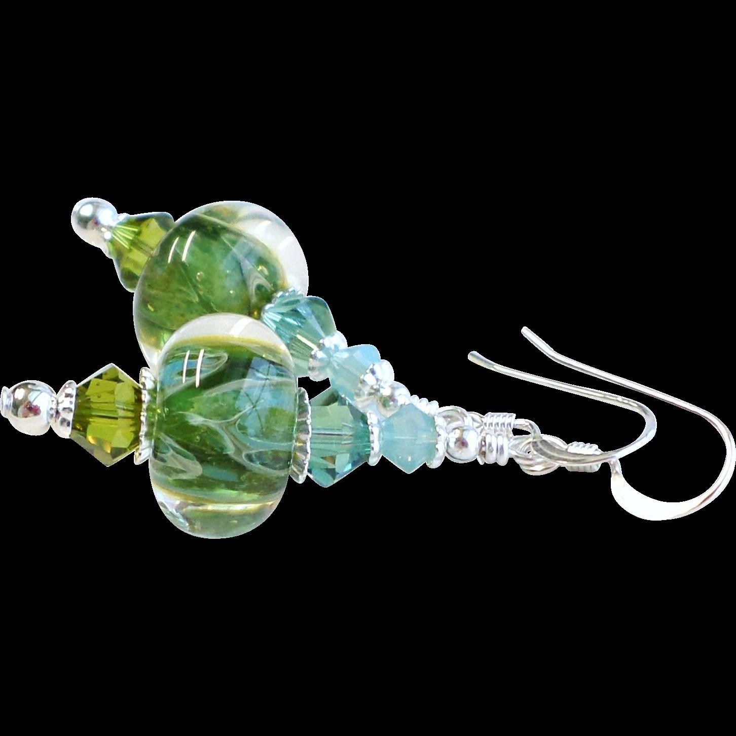 Blue and Green Boro Lampwork Glass Dangle Earrings