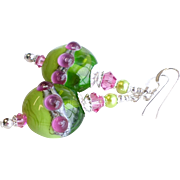 Pink and Green Lampwork Earrings With Swarovski Crystals
