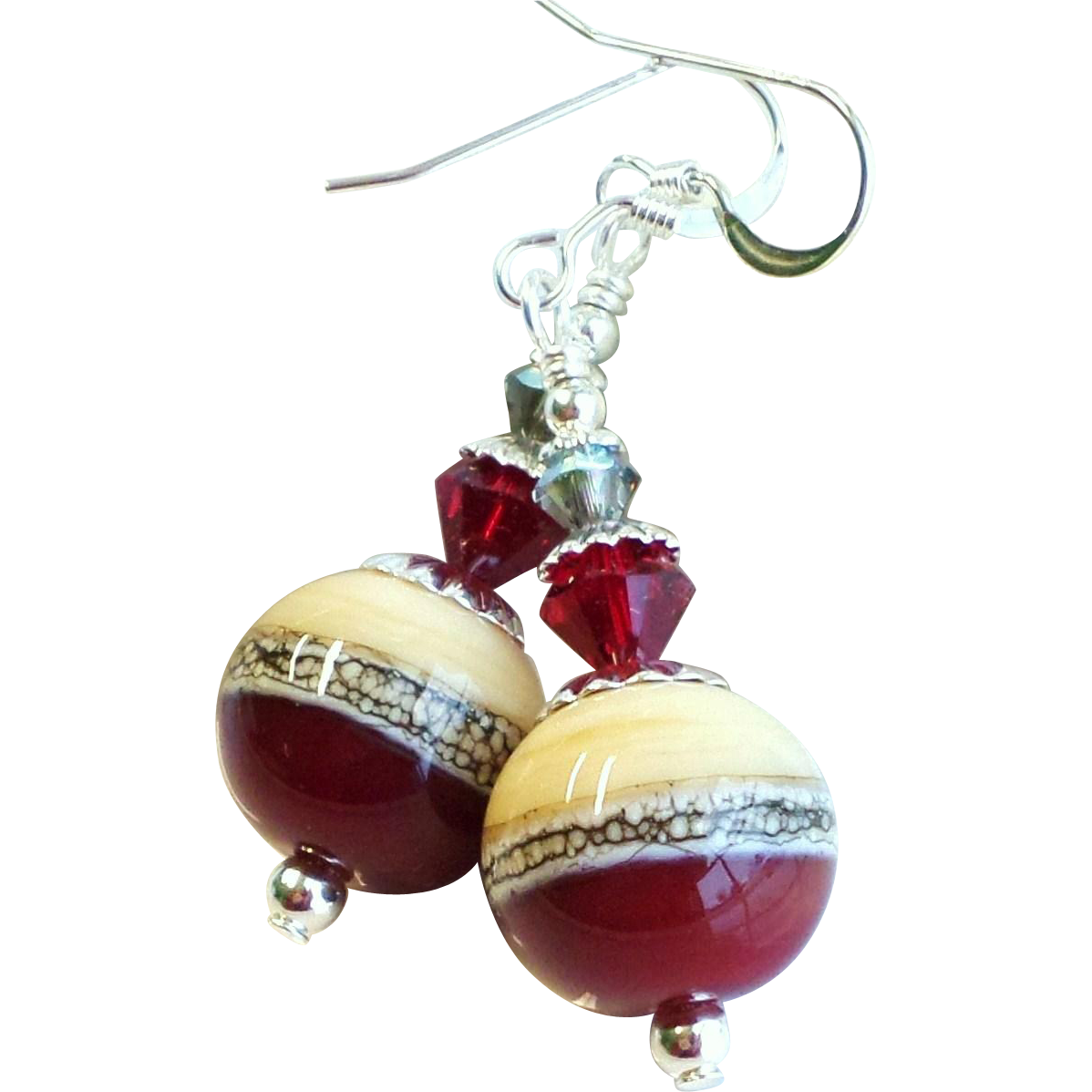 Dark Red, Cream and Gray Lampwork Earrings With Swarovski Crystals and Sterling Silver Ear Wires