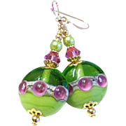 Lime Green and Rosy Pink Lampwork Earrings