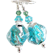 Venetian Glass Earrings With Sterling Silver Foil - Shades of Aqua and Green