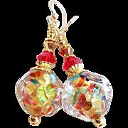Venetian 22KT Gold Foil Glass Bead Earrings In Multi Colors