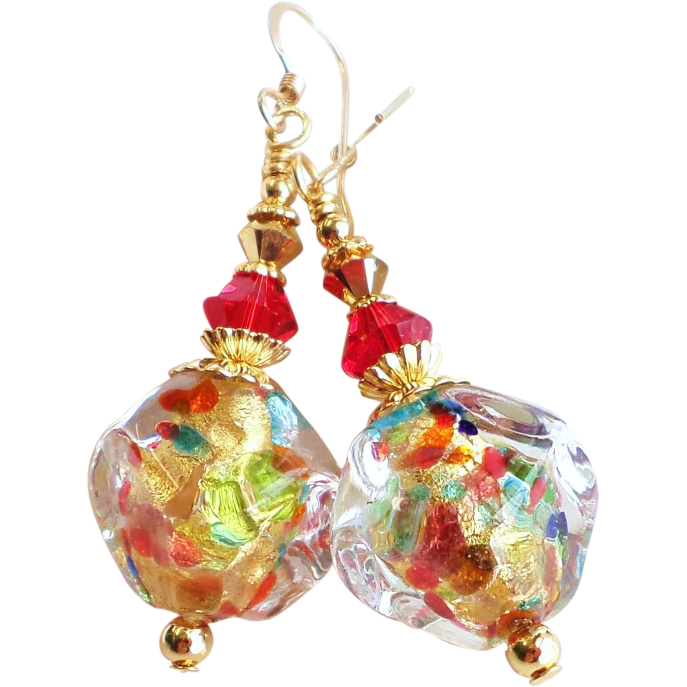 Venetian 22KT Gold Foil Glass Bead Earrings In Multi Colors