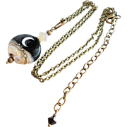 Moon Lampwork Necklace With Aged Brass Finished Details