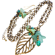 Aged Finish Brass Leaf Necklace with Swarovski Crystals and Czech Glass Accents - Earrings Included