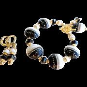 Black and White Lampwork Bracelet and Earrings Set
