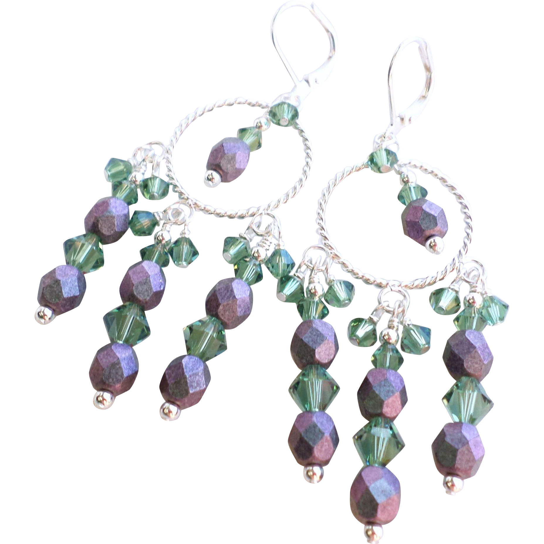 Swarovski Crystal Chandelier Earrings in Purple and Green With Czech Fire Polished Glass