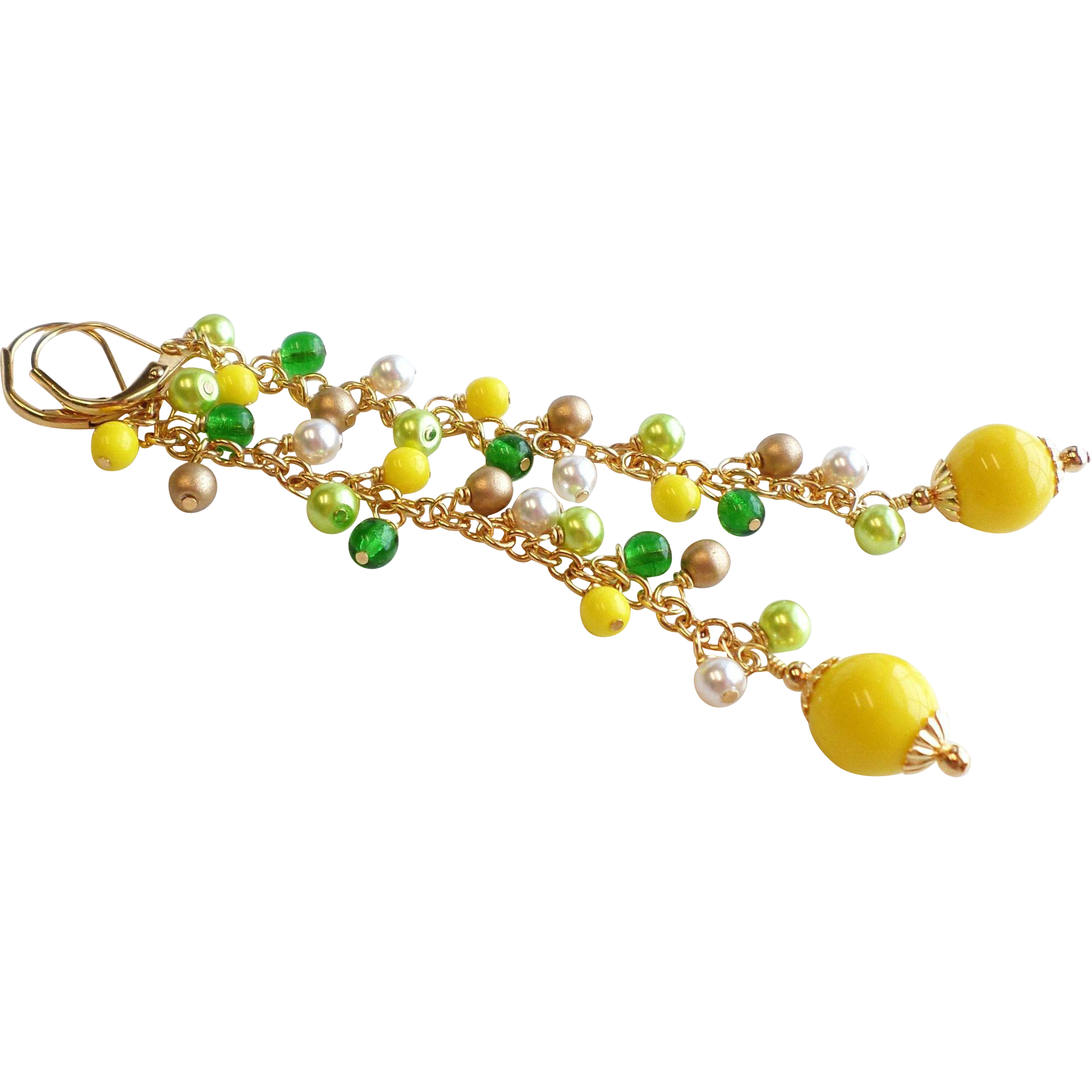 Yellow and Green Glass and Faux Pearl Dangle Earrings In 4 Inch Length