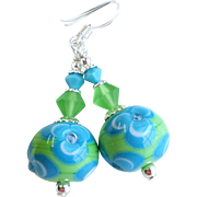 Blue Green Floral Lampwork Earrings