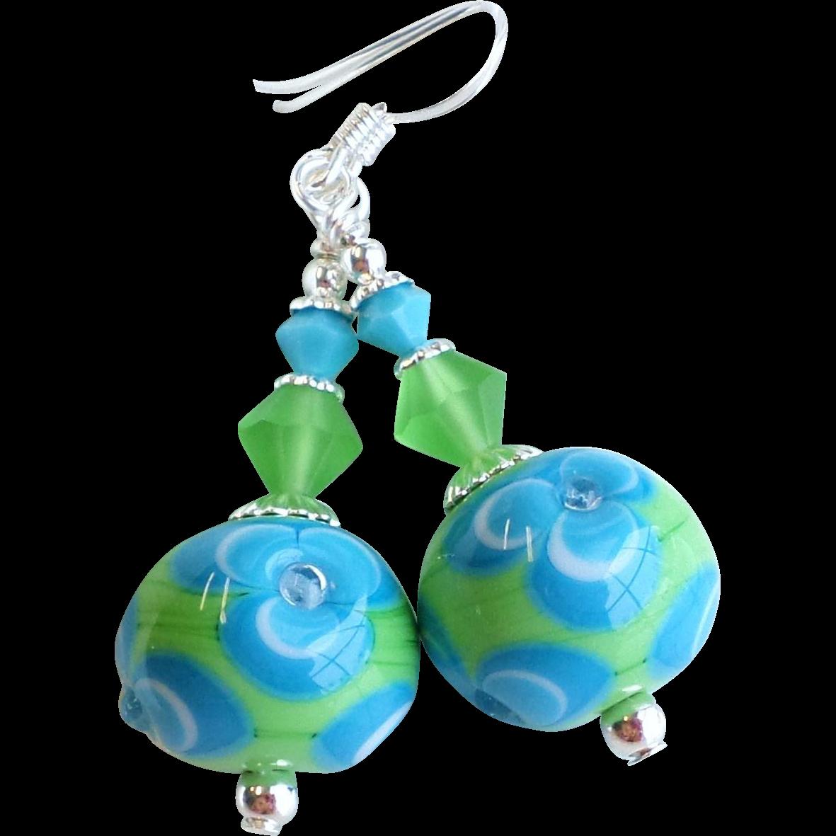 Blue Green Floral Lampwork Earrings