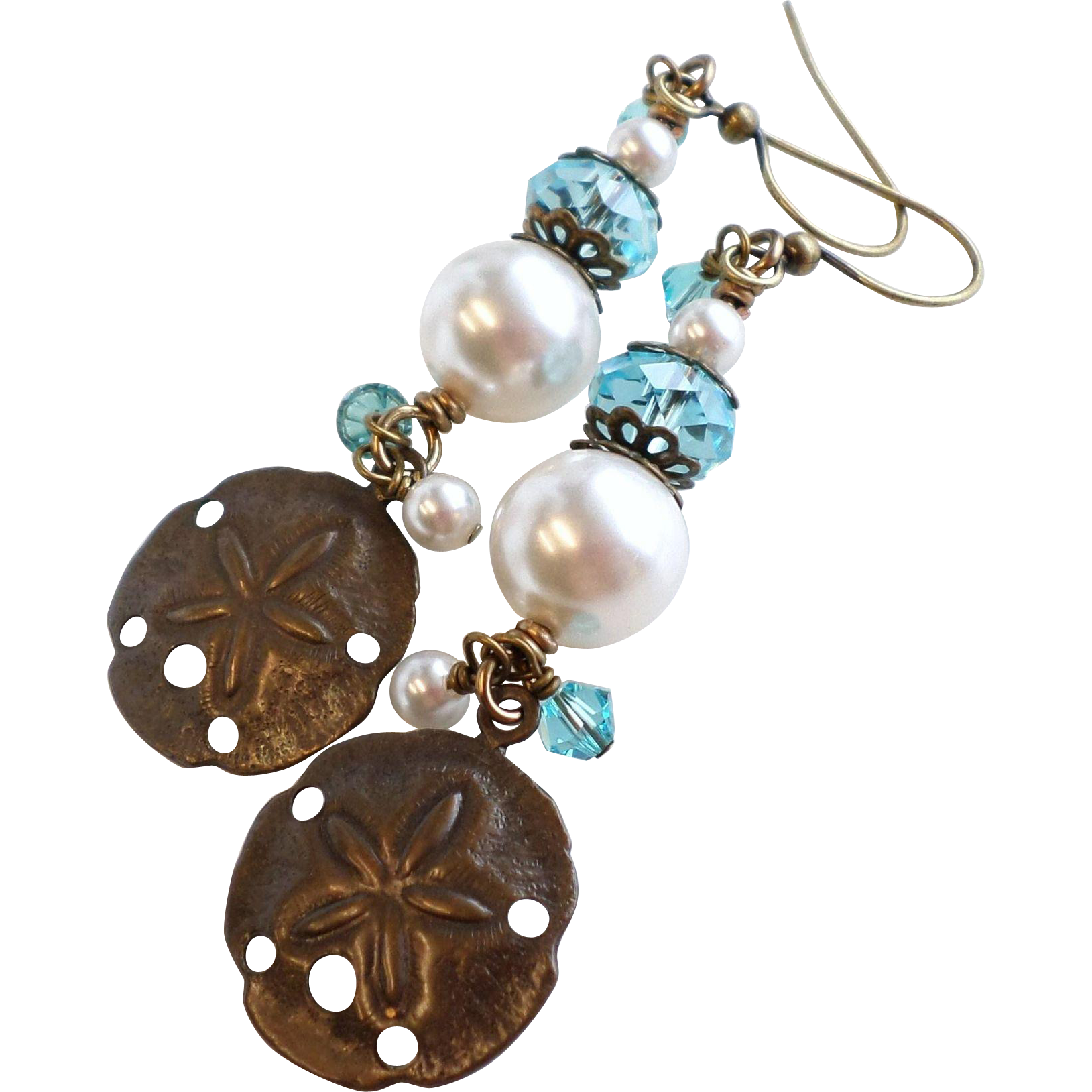 Brass Sand Dollar Earrings With Swarovski Crystal and Faux Pearls