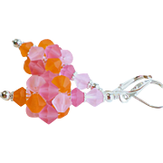 Crystal Cluster Ball Earrings In Pink and Orange Matte Finish