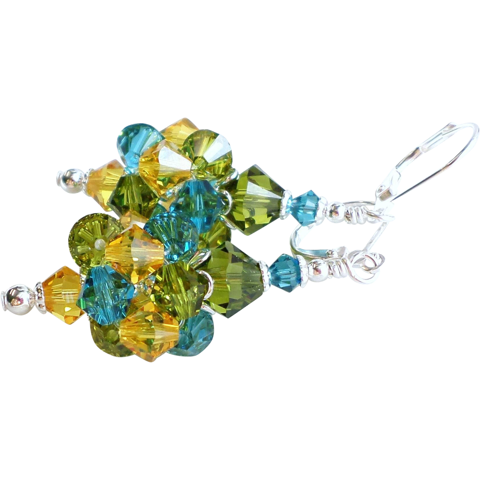 Swarovski Crystal Cluster Ball Earrings In Yellow, Blue and Green